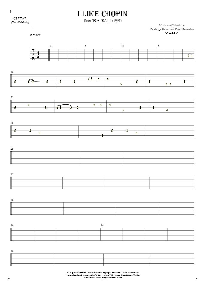 I Like Chopin - Tablature for guitar - melody line