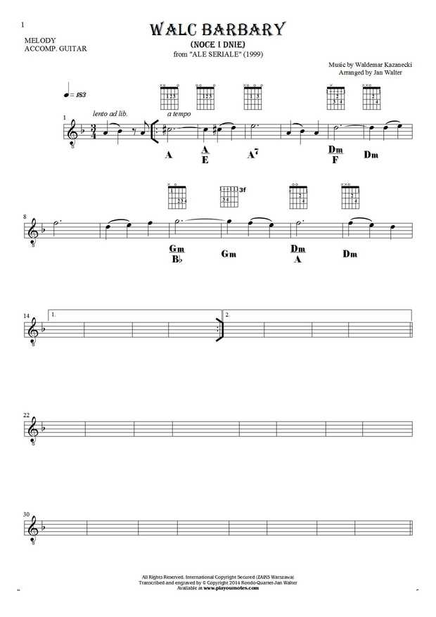 Walc Barbary (Noce i Dnie) - Notes, chords and diagrams for solo voice with accompaniment