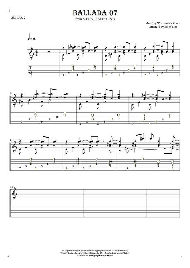 Ballada 07 - Notes and tablature for guitar - guitar 2 part