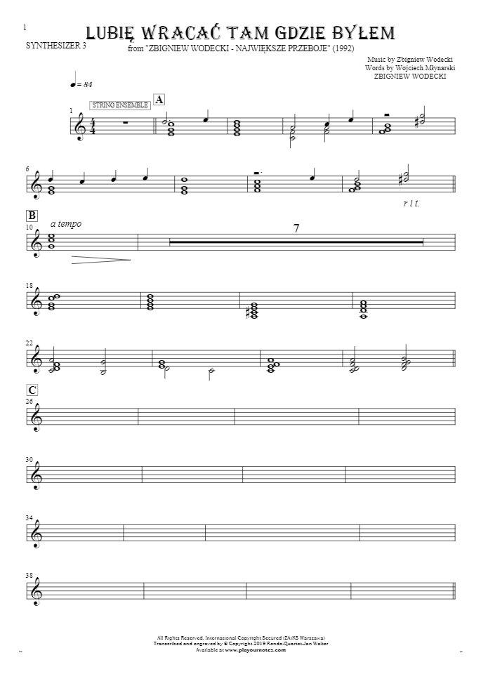 Lubię wracać tam gdzie byłem - Notes for synthesizer - String Ensemble