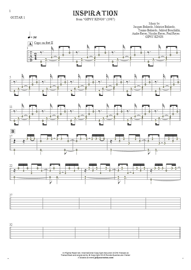 Inspiration - Tablature (rhythm values) for guitar - guitar 1 part