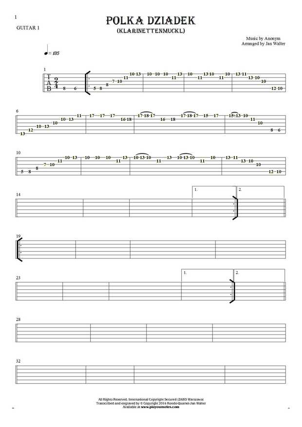 Polka Dziadek (Klarinettenmuckl) - Tablature for guitar - guitar 1 part