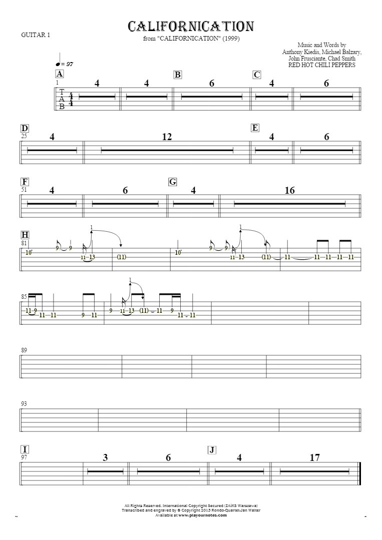 Californication - Tablature (rhythm values) for guitar - guitar 1 part