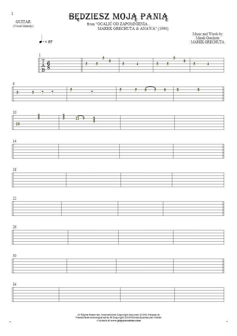 Będziesz moją panią - Tablature for guitar