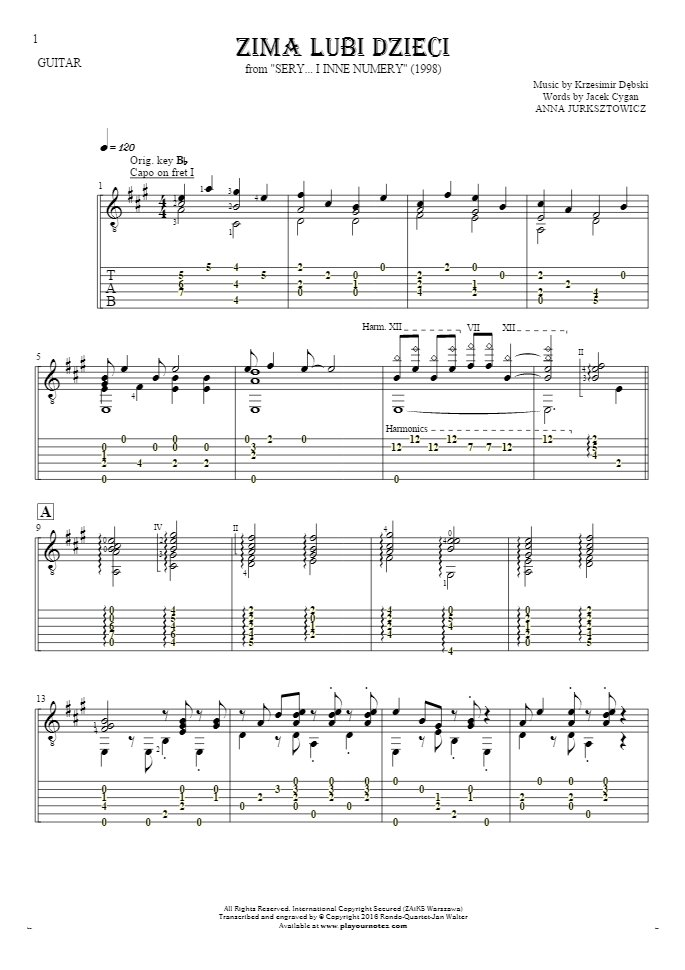 Zima lubi dzieci - Notes (in transposing) and tablature for guitar - accompaniment