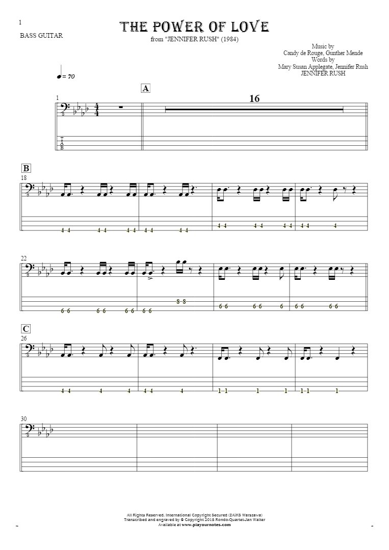 The Power Of Love - Notes and tablature for bass guitar