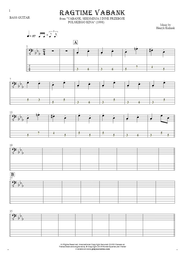 Ragtime Vabank - Notes and tablature for bass guitar