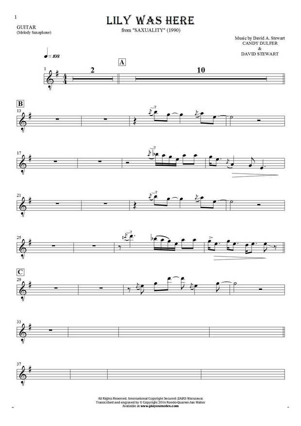 Lily Was Here - Notes for guitar - saxophone part