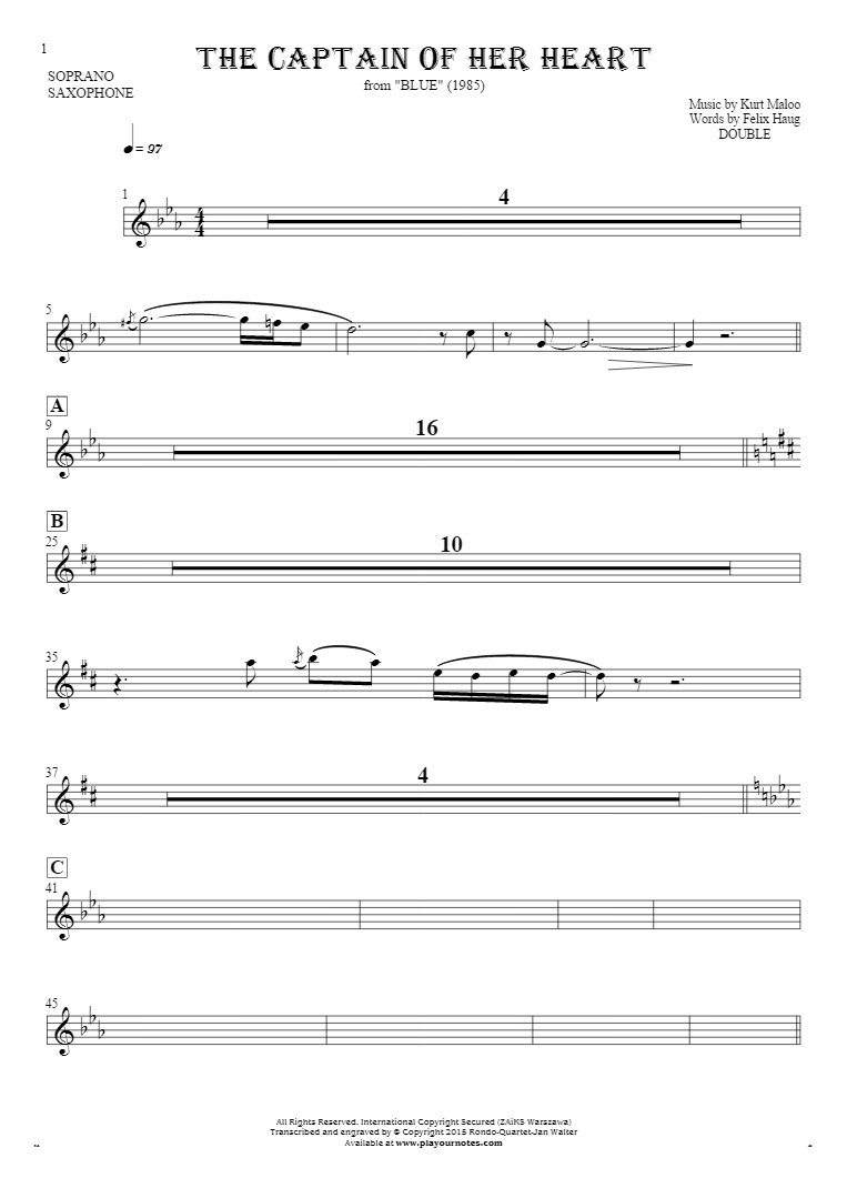 The Captain of Her Heart - Notes for soprano saxophone - saxophone part
