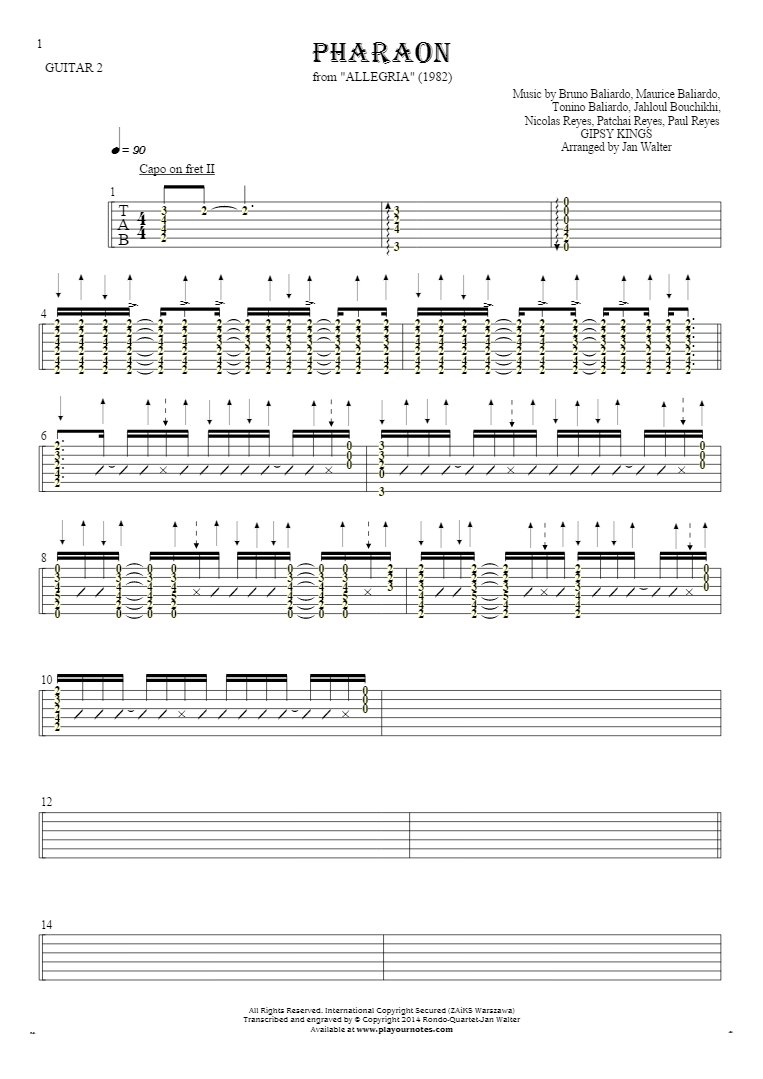 Pharaon - Tablature (rhythm values) for guitar - guitar 2 part