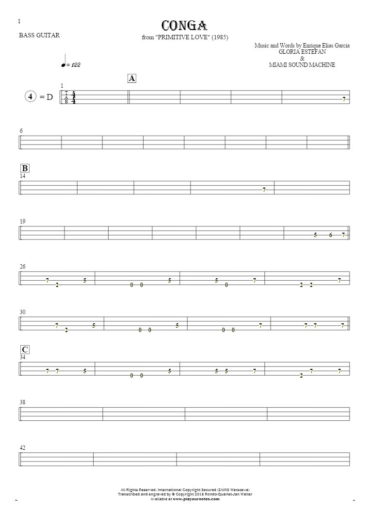 Conga - Tablature for bass guitar