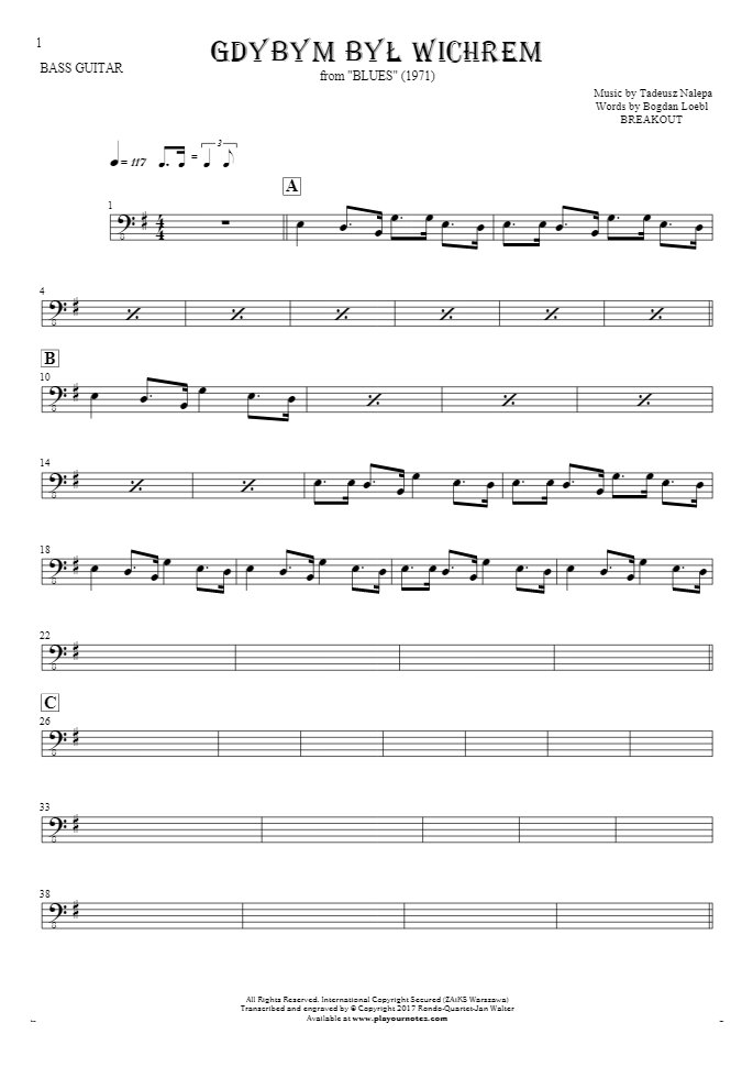 If I Were the Wind - Notes for bass guitar