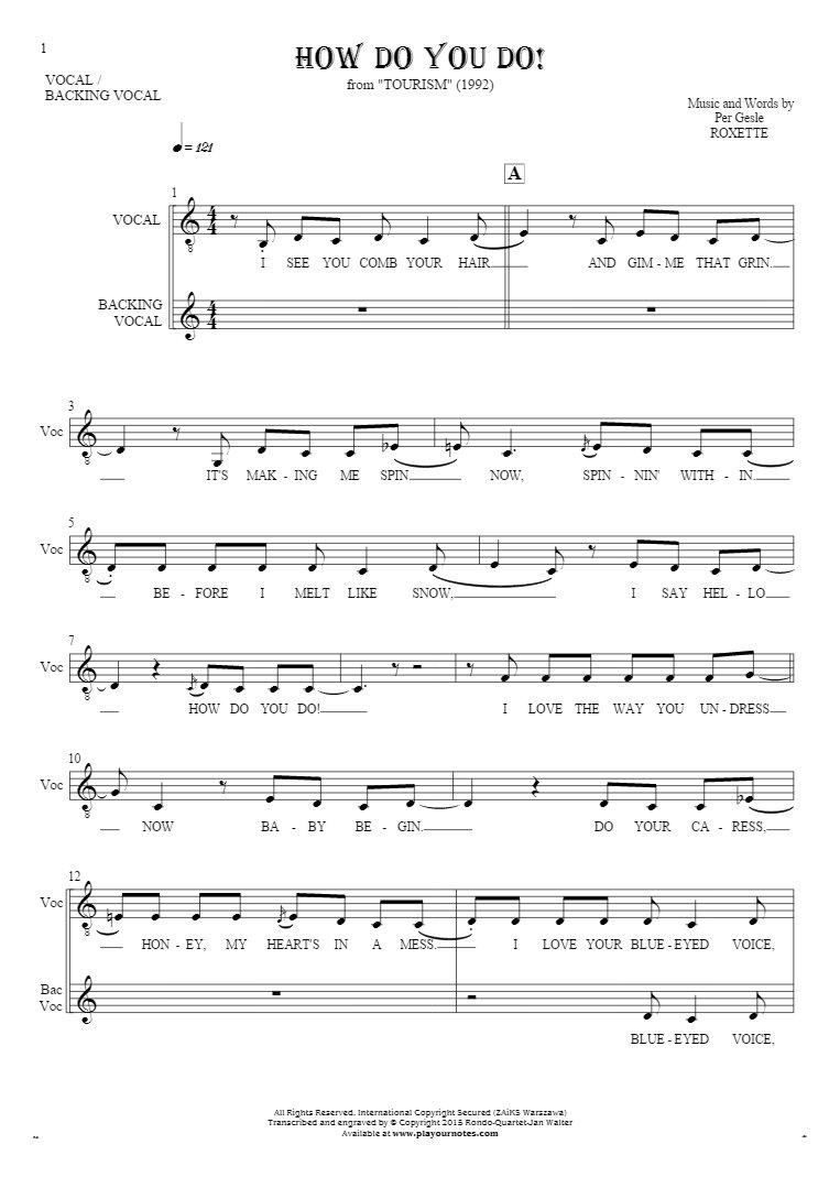 How Do You Do! - Notes and lyrics for vocal