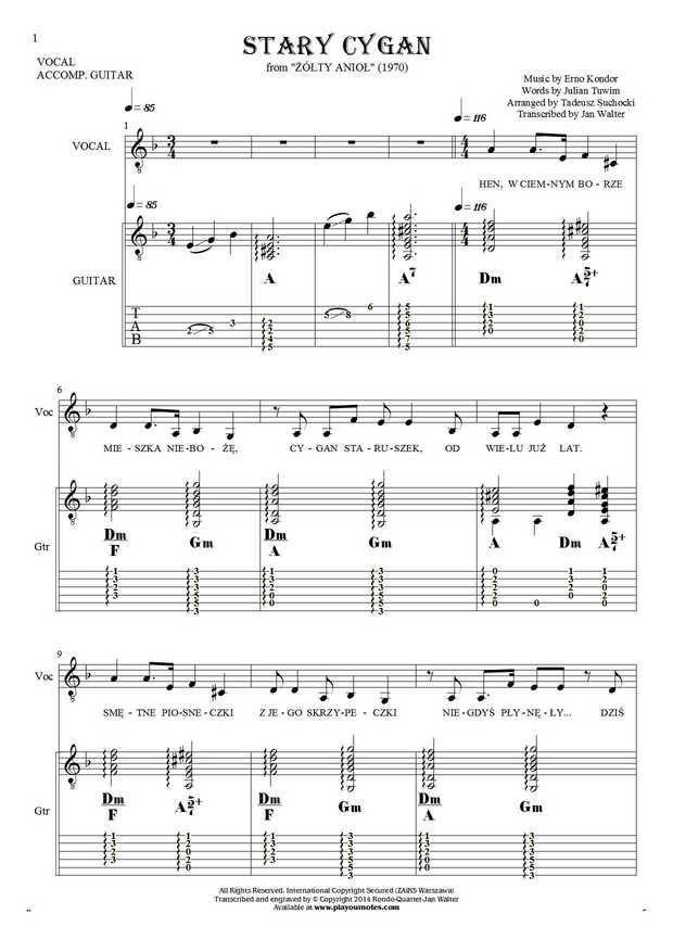 The old Gipsy - Notes, tablature, chords and lyrics for vocal with guitar accompaniment