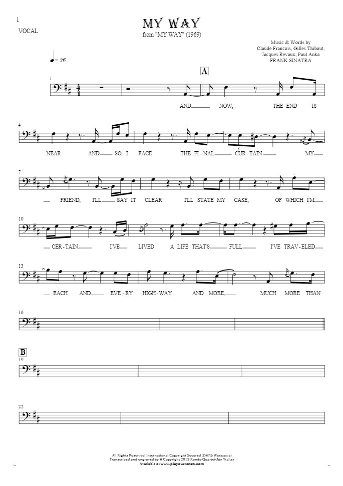 My Way - Notes and lyrics-(bass clef) for vocal - melody line