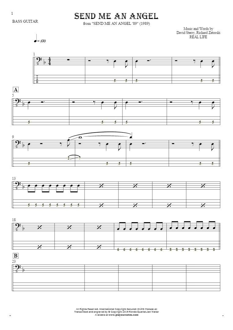 Send Me An Angel - Noten und Tabulatur für Bassgitarre