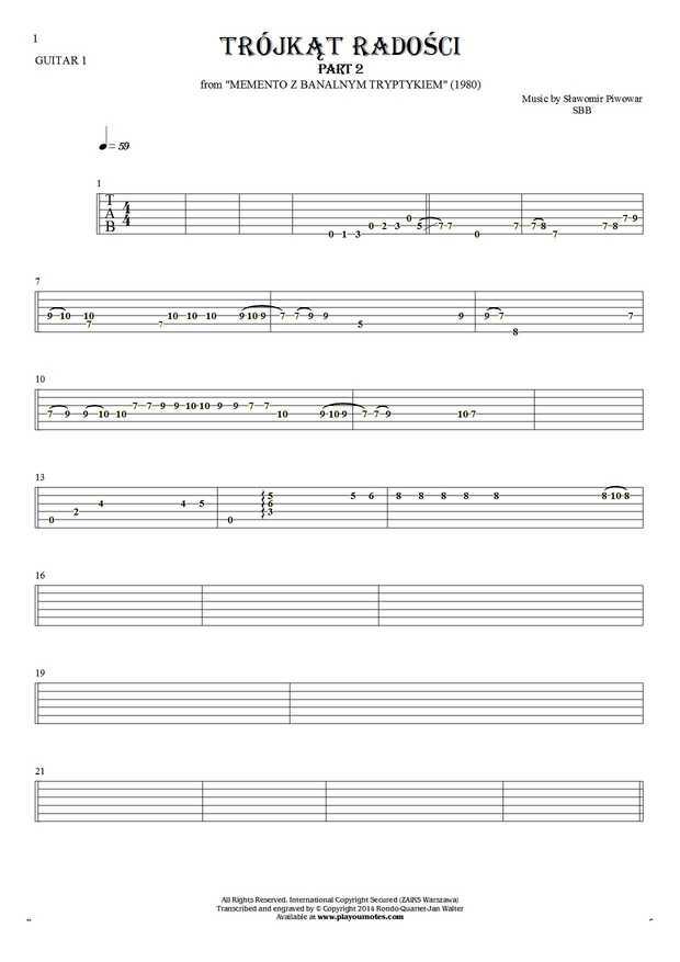 Trójkąt radości - Tablature for guitar - guitar 1 part