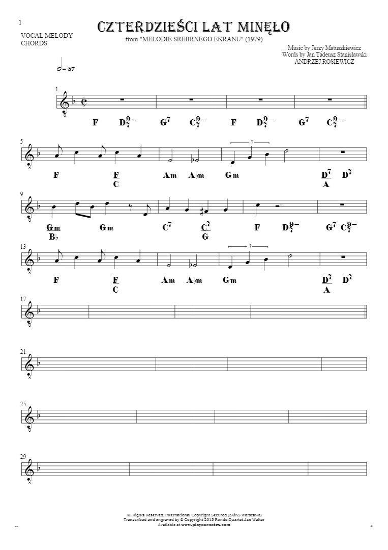 Czterdzieści Lat Minęło - Notes and chords for solo voice with accompaniment