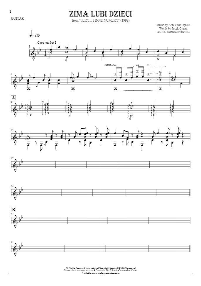 Zima lubi dzieci - Notes for guitar - accompaniment