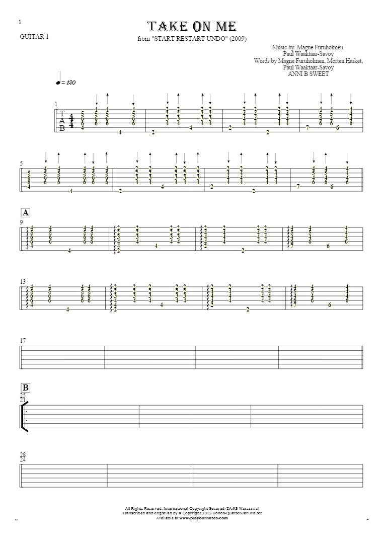Take On Me - Tablature for guitar - guitar 1 part