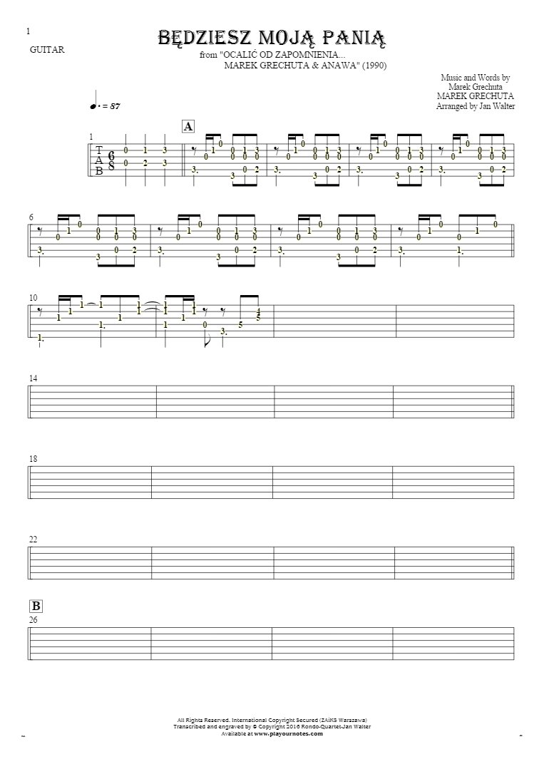 Będziesz moją panią - Tablature (rhythm values) for guitar - accompaniment