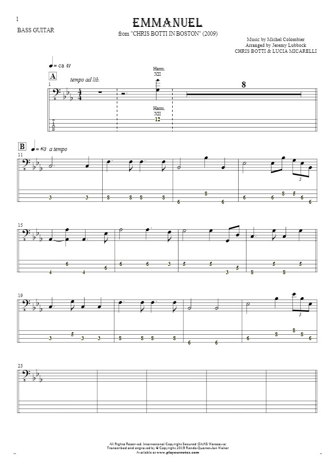 Emmanuel - Notes and tablature for bass guitar