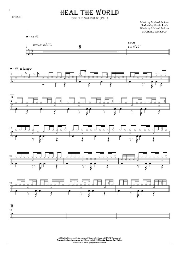 Heal The World - Notes for drum kit