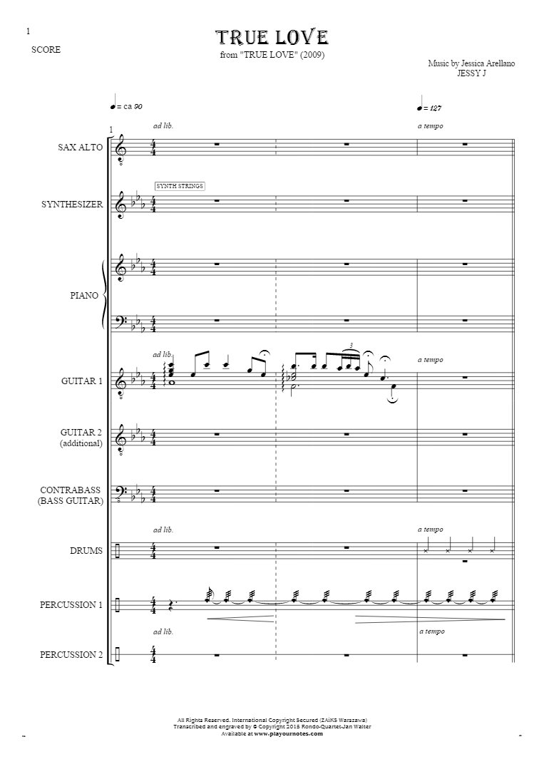 True Love - Score with alto saxophone
