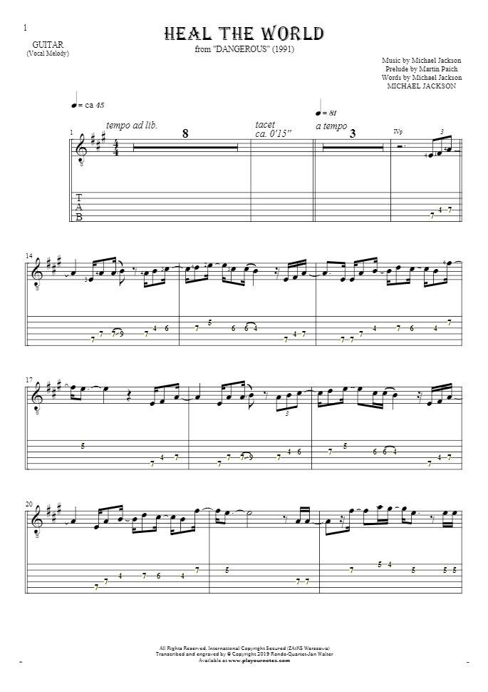 Heal The World - Noten und Tabulatur für Gitarre - Melodielinie