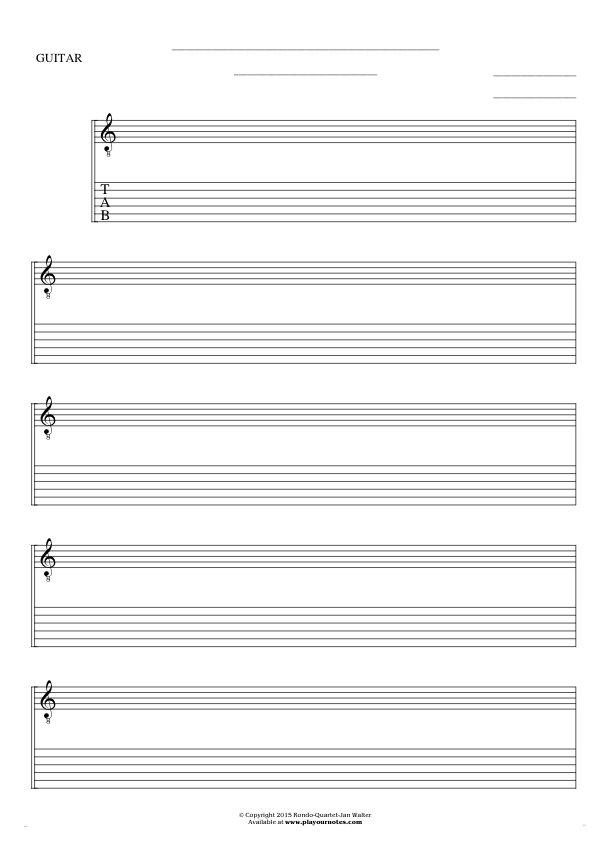Kostenlose Notenpapier - Noten und Tabulatur für Gitarre