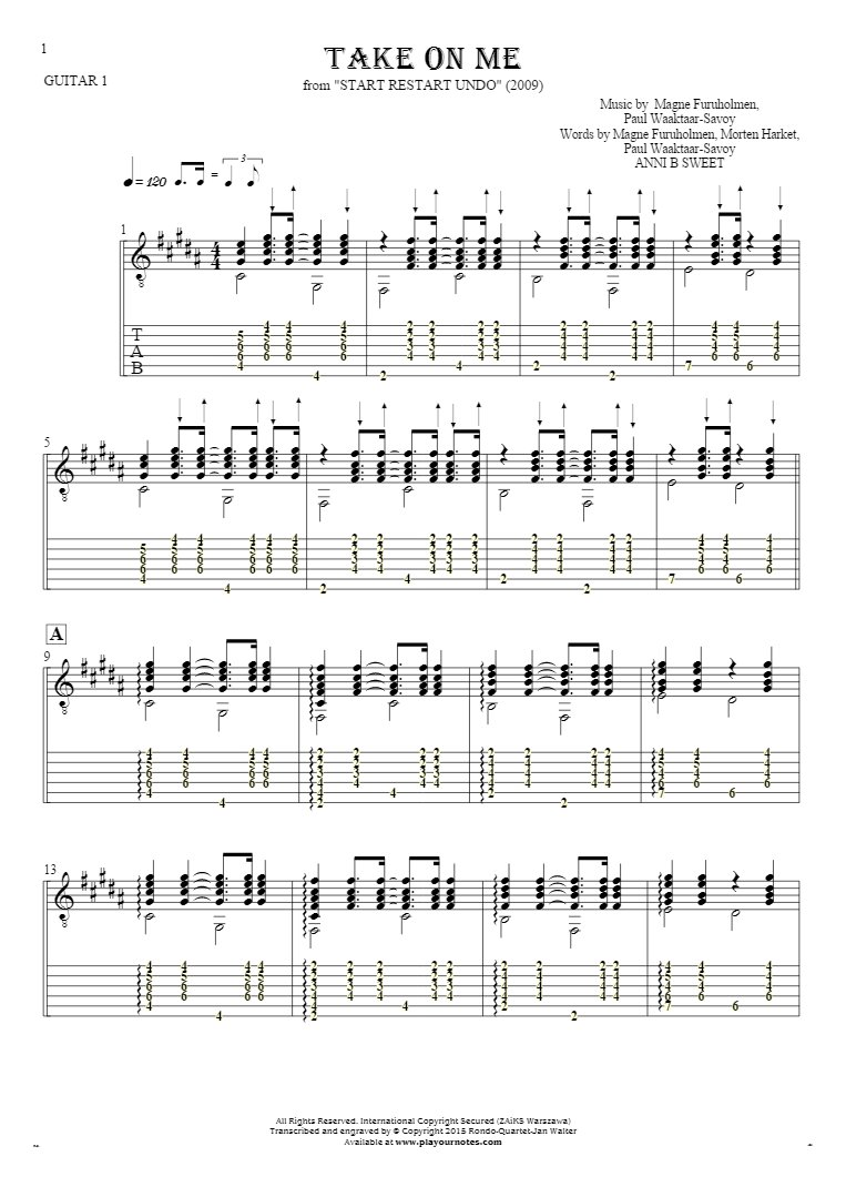 Take On Me - Notes and tablature for guitar - guitar 1 part