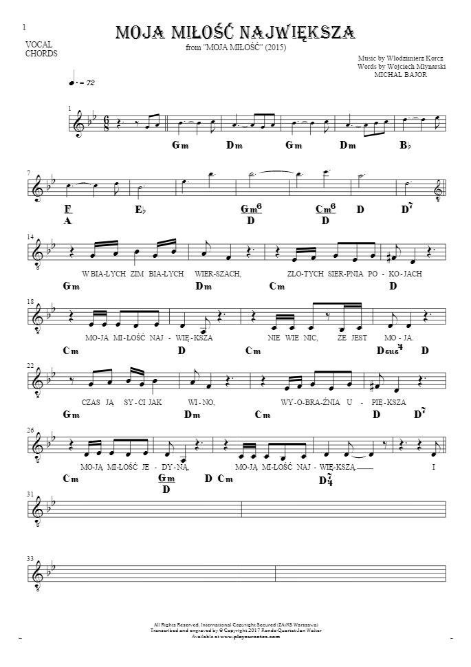 Moja miłość największa - Notes, lyrics and chords for vocal with accompaniment