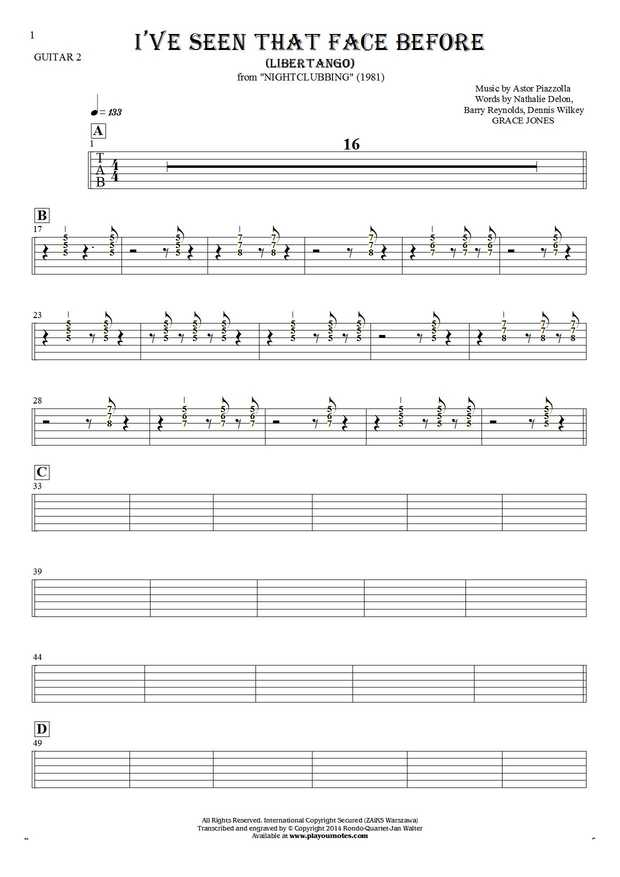 I've Seen That Face Before - Libertango - Tablature (rhythm values) for guitar - guitar 2 part