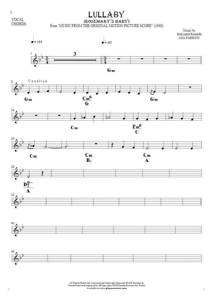 Lullaby - Rosemary's Baby - Notes and chords for vocal with accompaniment