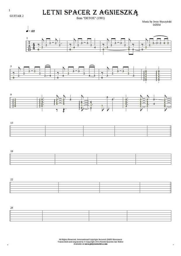 Letni spacer z Agnieszką - Tablature (rhythm values) for guitar - guitar 2 part