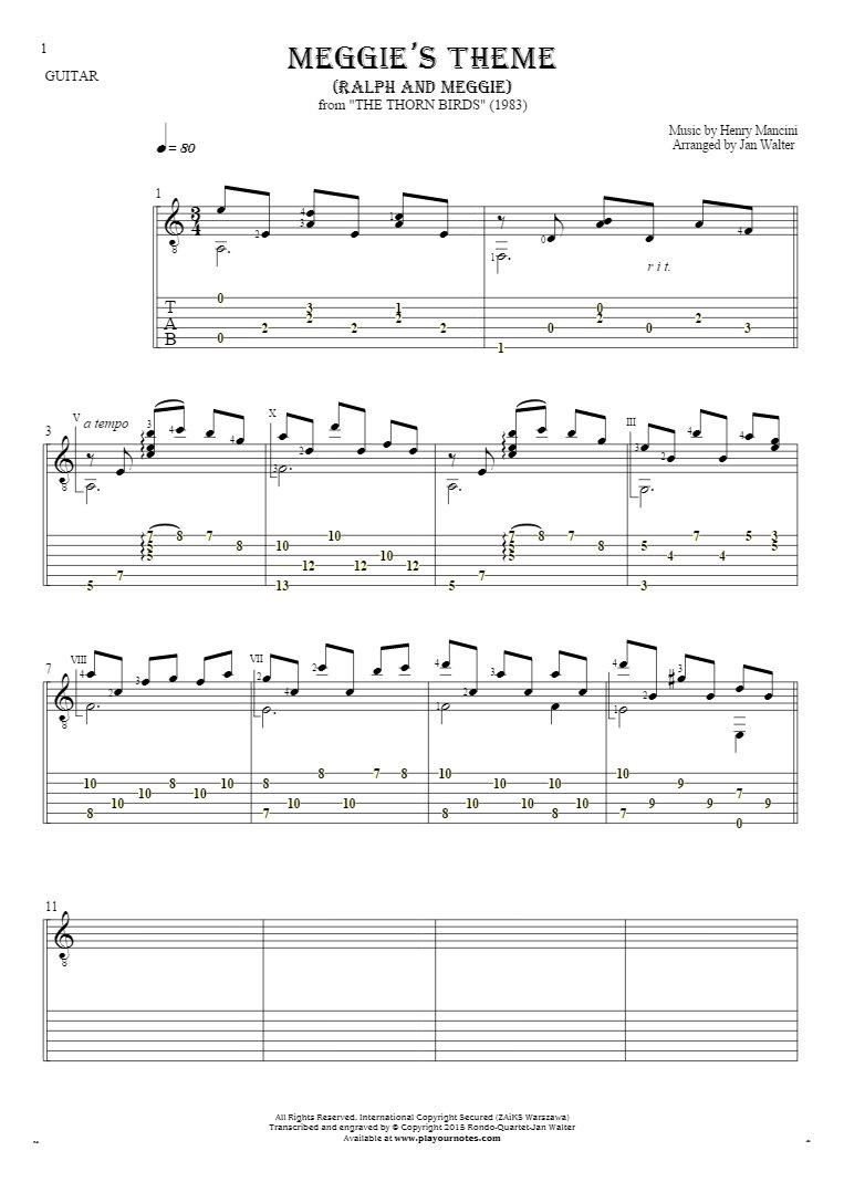 Meggie's Theme (Ralph and Meggie) - Notes and tablature for guitar solo (fingerstyle)