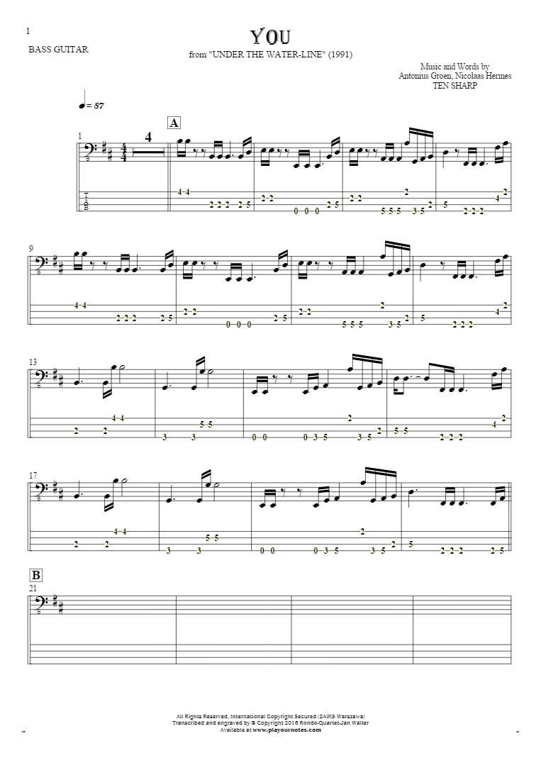 You - Notes and tablature for bass guitar