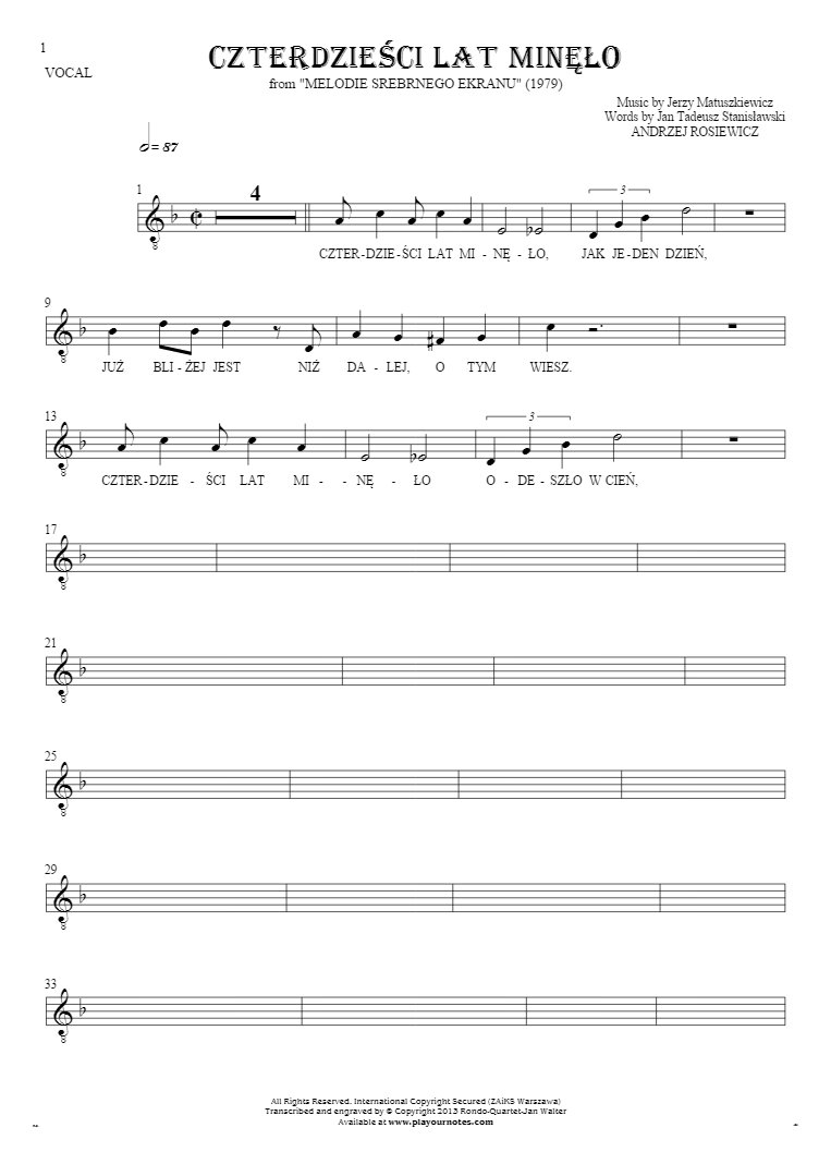 Czterdzieści Lat Minęło - Notes and lyrics for vocal