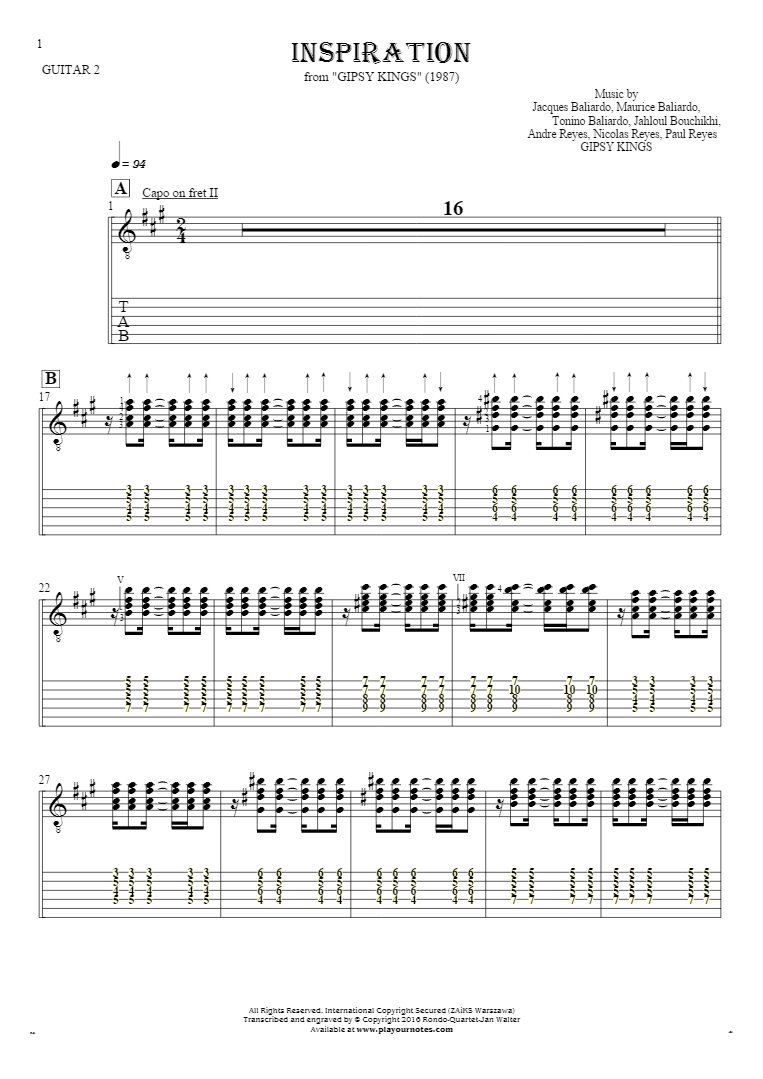 Inspiration - Notes and tablature for guitar - guitar 2 part