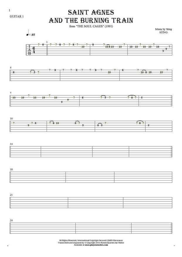 Saint Agnes And The Burning Train - Tablature for guitar - guitar 1 part