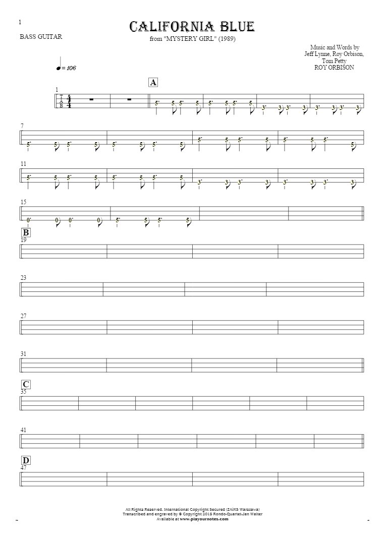 California Blue - Tablature (rhythm values) for bass guitar