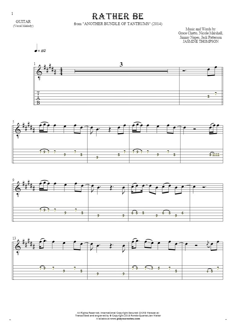 Rather Be - Notes and tablature for guitar - melody line