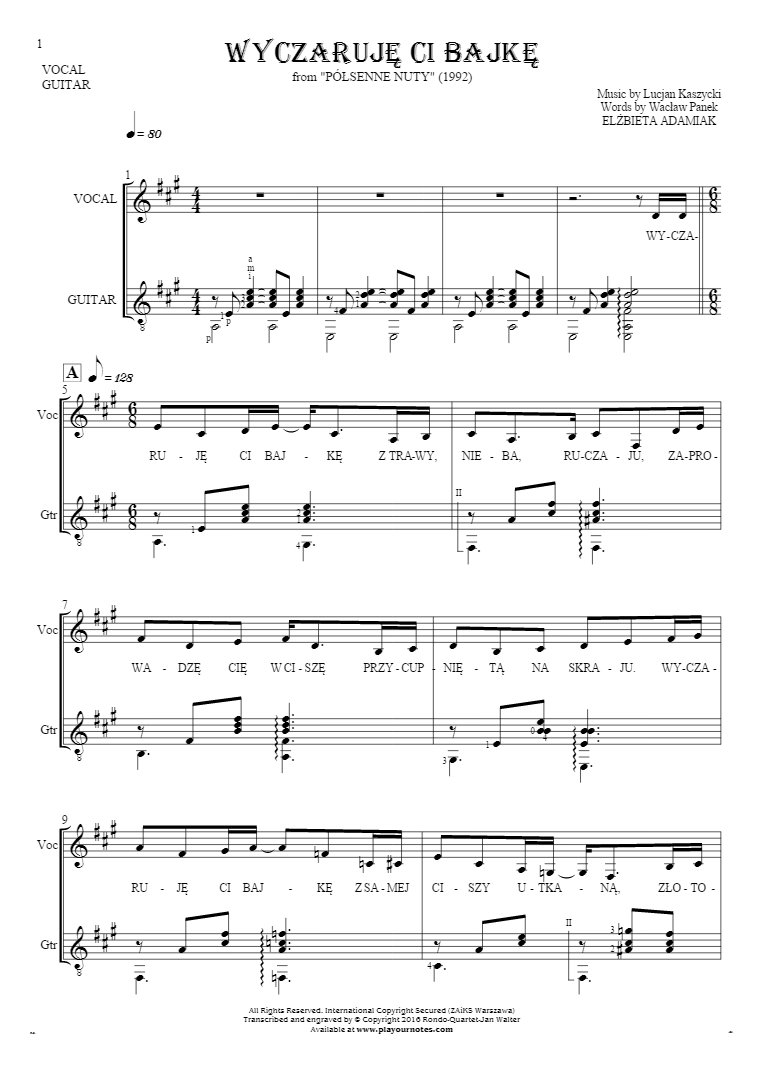 Wyczaruję ci bajkę - Notes and lyrics for vocal and guitar