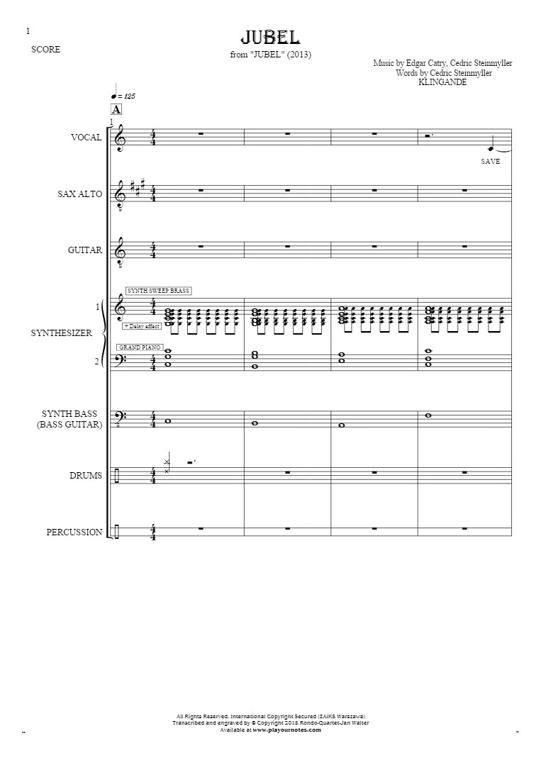Jubel - Score with alto saxophone