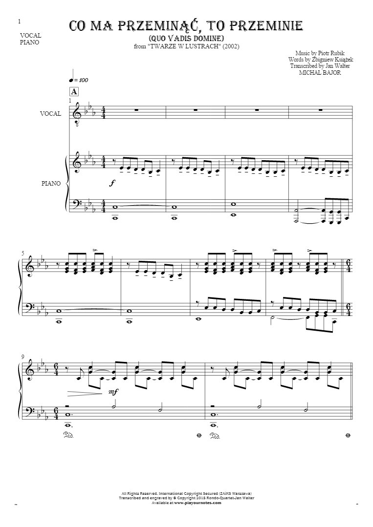 Co ma przeminąć, to przeminie (Quo Vadis Domine) - Notes and lyrics for vocal with accompaniment