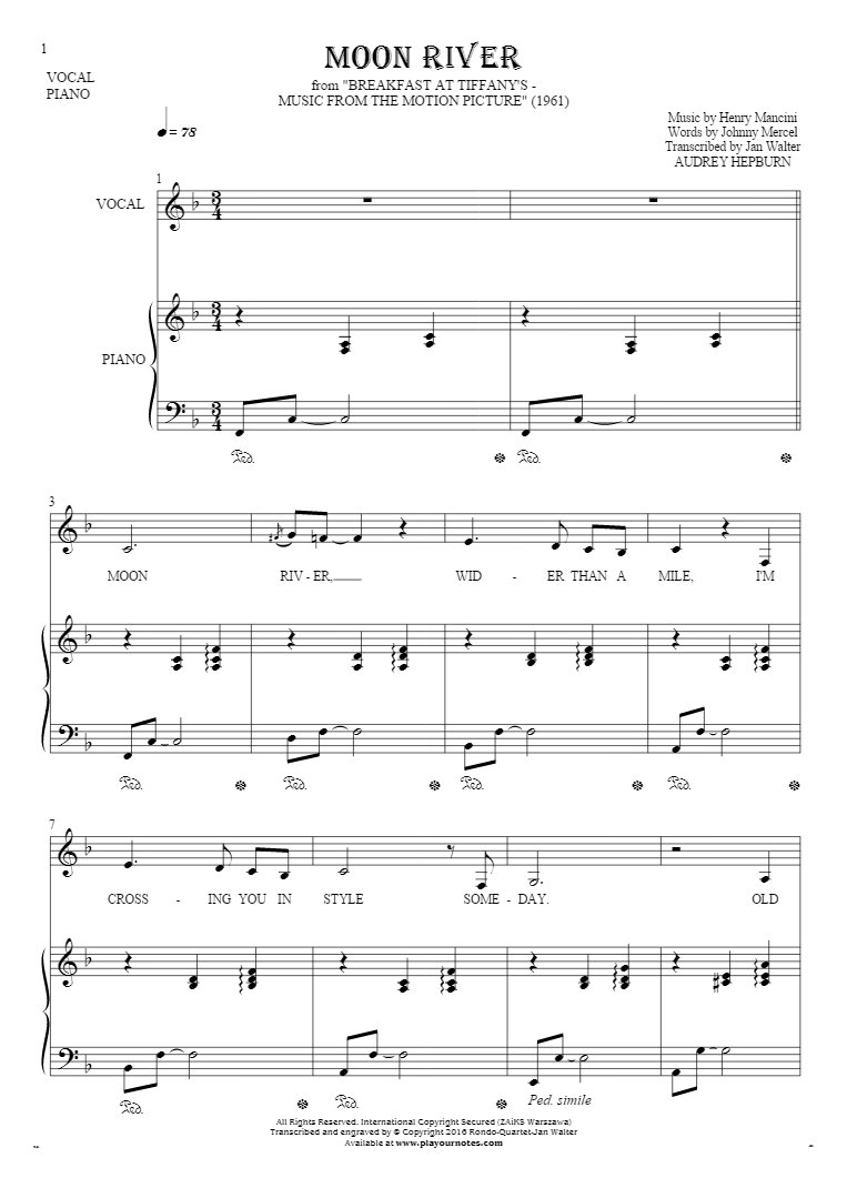 Moon River Notes And Lyrics For Vocal With Accompaniment