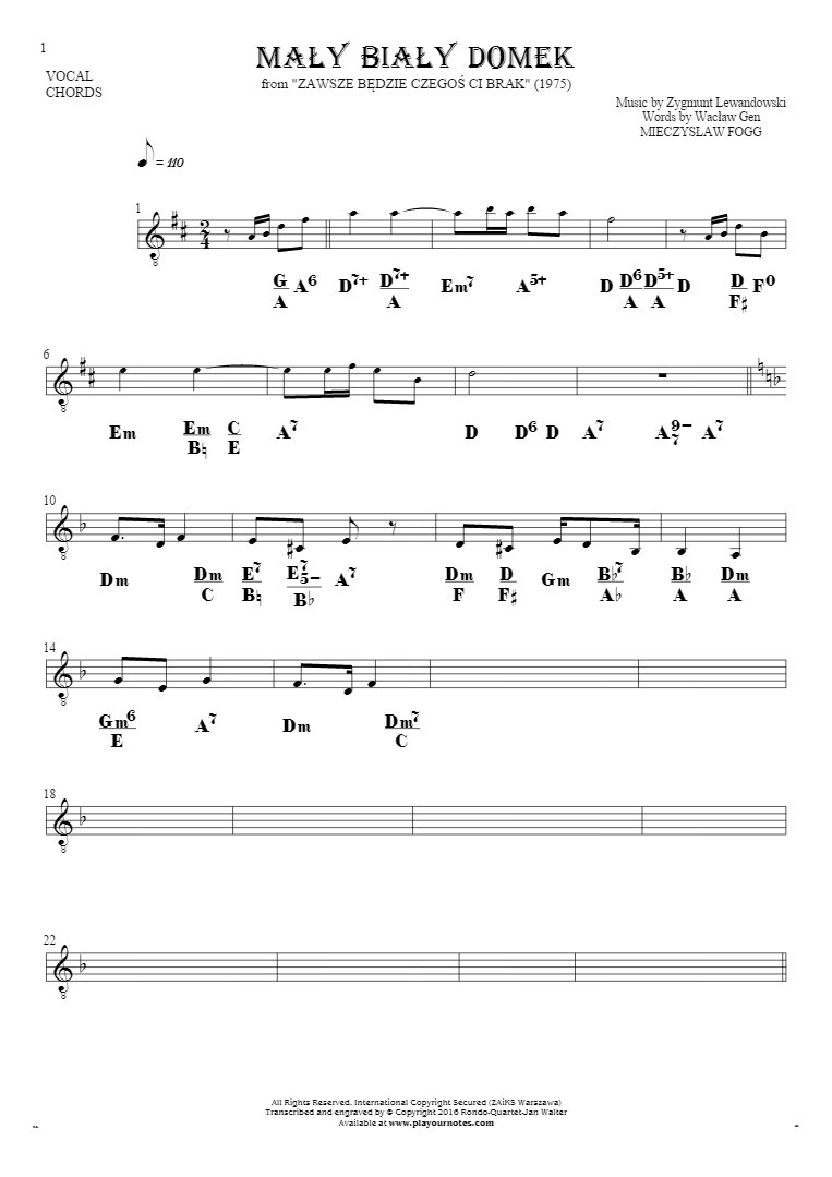 Mały biały domek - Notes and chords for solo voice with accompaniment