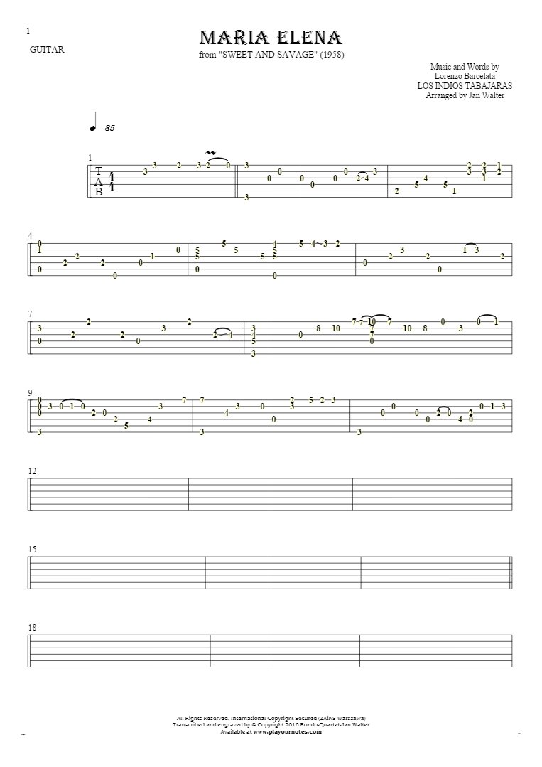 Maria Elena - Tablature for guitar solo (fingerstyle)