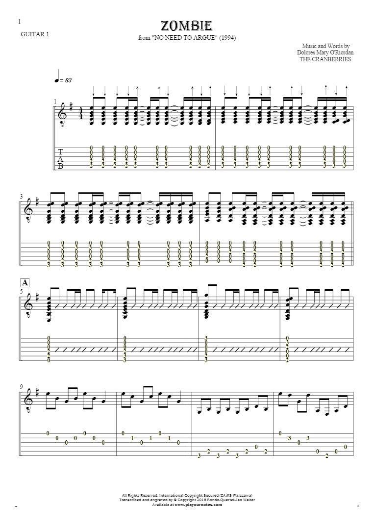 Zombie - Notes and tablature for guitar - guitar 1 part