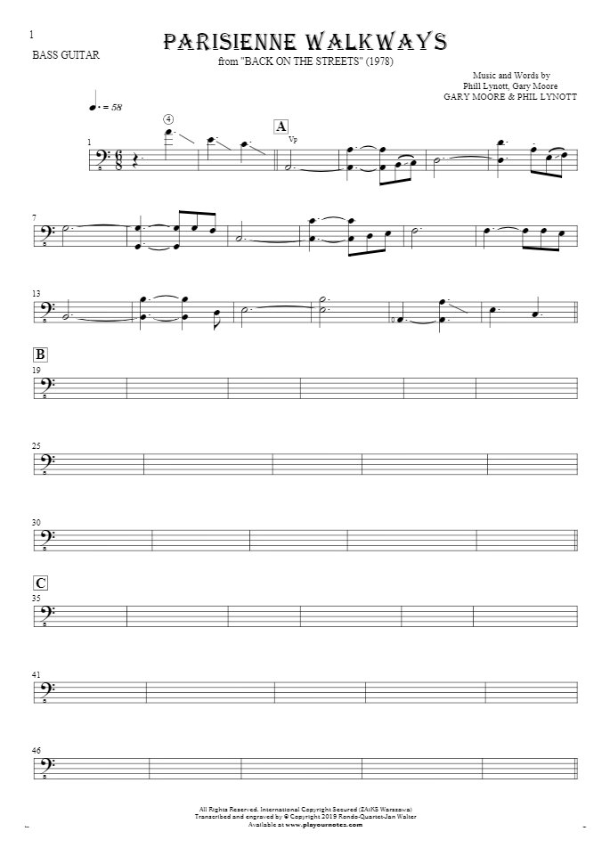 Parisienne Walkways - Notes for bass guitar
